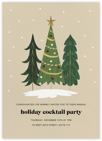 Christmas Tree Trio - Paperless Post - Holiday party invitations