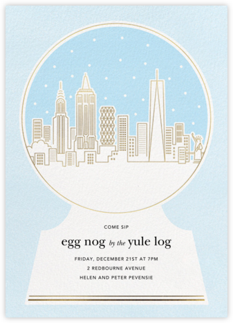 New York Skyline Snowglobe - Paperless Post - Winter Party Invitations