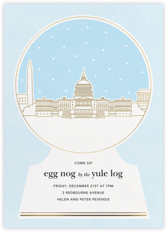 Washington D.C. Skyline Snowglobe - Paperless Post - Holiday Invitations