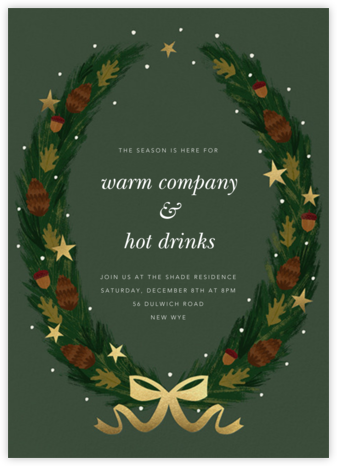Starry Wreath - Paperless Post - Winter Party Invitations