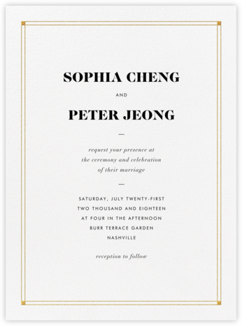 Caslon - Gold - Vera Wang - Vera Wang Invitations