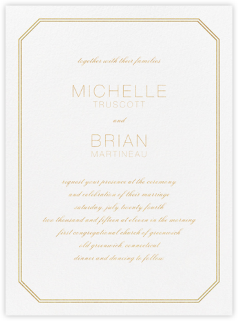 Cornerplate - Gold - Vera Wang - Wedding Invitations