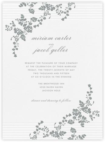Floral Pinstripe - Pewter Gray - Vera Wang - Wedding invitations