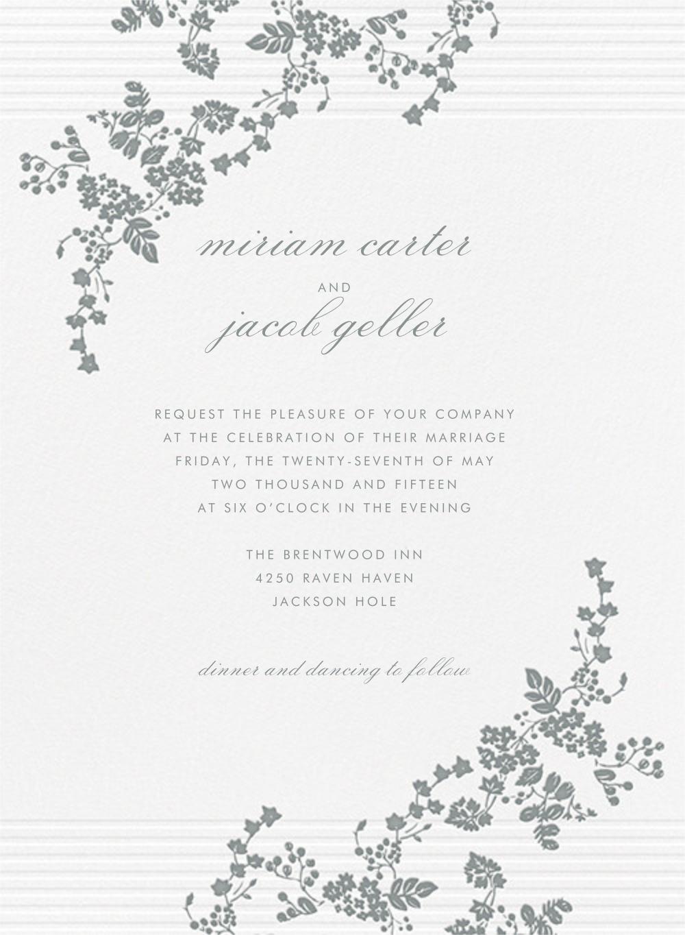 Floral Pinstripe - Pewter Gray - Vera Wang - Vera Wang invitations and stationery