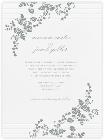 Floral Pinstripe - Pewter Gray - Vera Wang - Wedding invitations