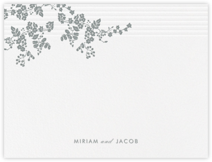 Floral Pinstripe (Stationery) - Pewter Gray - Vera Wang - Vera Wang invitations and stationery