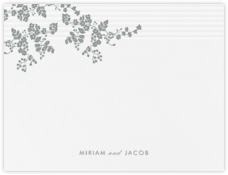 Floral Pinstripe (Stationery) - Pewter Gray