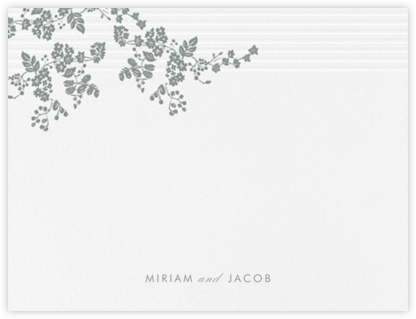 Floral Pinstripe (Stationery) - Pewter Gray - Vera Wang - Personalized Stationery
