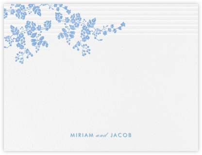 Floral Pinstripe (Stationery) - Newport Blue - Vera Wang - Vera Wang invitations and stationery