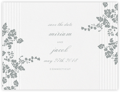 Floral Pinstripe (Save the Date) - Pewter Gray - Vera Wang -