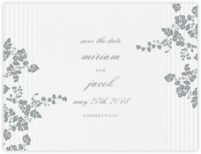 Floral Pinstripe (Save the Date) - Pewter Gray