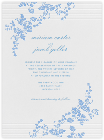 Floral Pinstripe - Newport Blue - Vera Wang - Wedding invitations