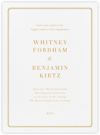 Notch - Gold - Vera Wang - Engagement party invitations