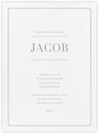 Notch - Platinum - Vera Wang - Bar and Bat Mitzvah Invitations