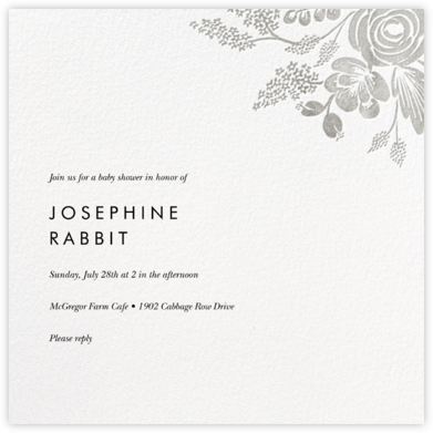 Heather and Lace (Square) - Silver - Rifle Paper Co. - Baby Shower Invitations