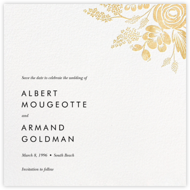 Heather and Lace (Save the Date) - White/Gold - Rifle Paper Co. - Rifle Paper Co. Wedding