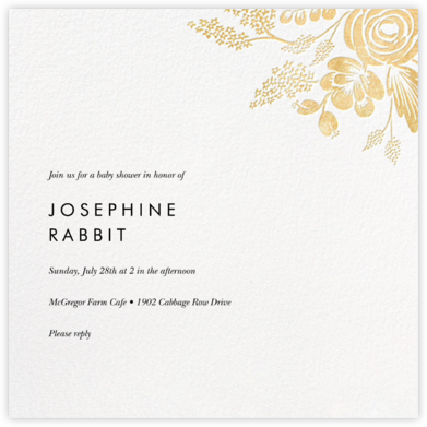 Heather and Lace (Square) - Gold - Rifle Paper Co. - Baby shower invitations