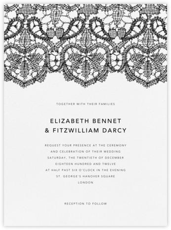 Antique Lace - Black - Oscar de la Renta - Wedding Invitations