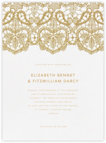Antique Lace - Medium Gold - Oscar de la Renta - Wedding Invitations
