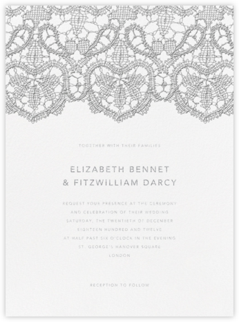 Antique Lace - Platinum - Oscar de la Renta - Wedding Invitations
