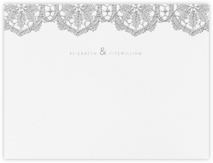 Antique Lace (Thank You) - Platinum - Oscar de la Renta - Personalized Stationery
