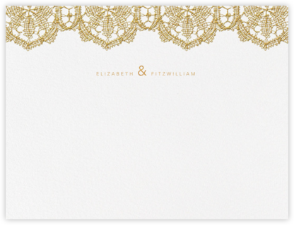 Antique Lace (Thank You) - Medium Gold - Oscar de la Renta - Personalized Stationery
