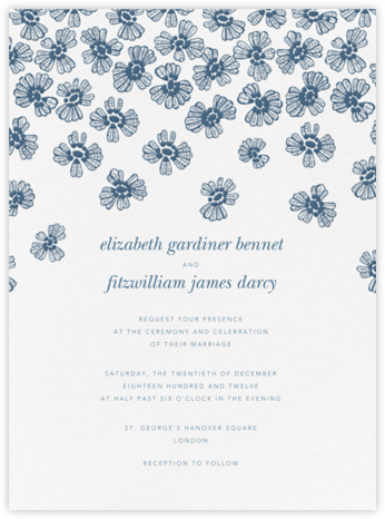 Petals on Lace - French Blue - Oscar de la Renta - Wedding Invitations