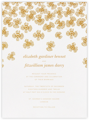Petals on Lace - Medium Gold - Oscar de la Renta - Wedding Invitations