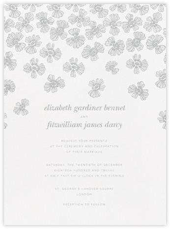Petals on Lace - Platinum - Oscar de la Renta - Wedding Invitations