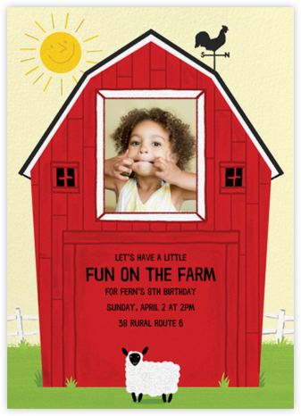 Barn Raising - Sheep - Paperless Post - Birthday invitations