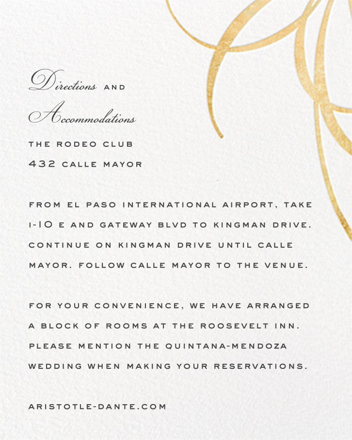 Belle Boulevard (Invitation) - Gold - kate spade new york - All - insert front