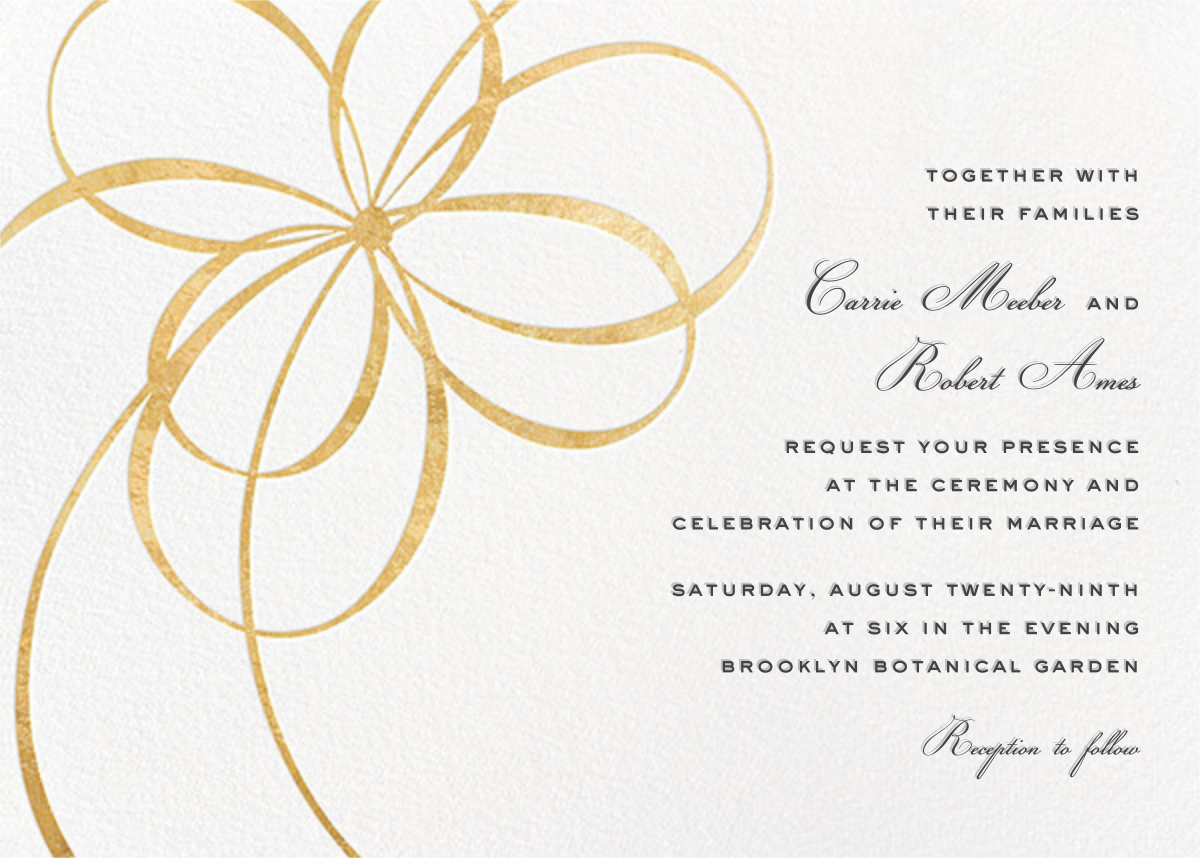 Belle Boulevard (Invitation) - Gold - kate spade new york - Kate Spade invitations, save the dates, and cards