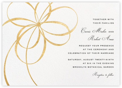 Belle Boulevard (Invitation) - Gold - kate spade new york - Modern wedding invitations