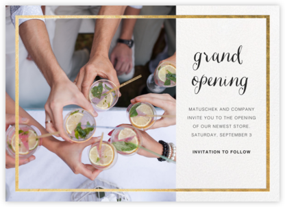 Idylle Photo - White/Gold - Paperless Post - Business Party Invitations