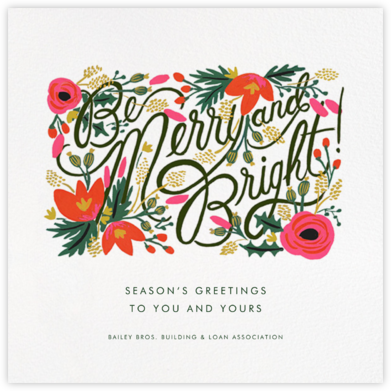 Merry, Bright, and Blooming - Rifle Paper Co. - Business holiday cards