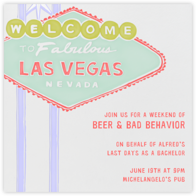 Vegas Welcome - Mint - Paperless Post - Bachelor party invitations