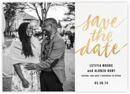 Evelina (Photo) - White/Gold - Paperless Post - Save the dates