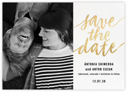 Evelina (Photo) - White/Gold - Paperless Post - Wedding Save the Dates