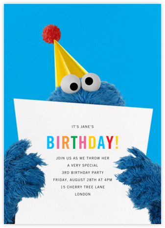A Monster of a Birthday - Sesame Street - Online Kids' Birthday Invitations