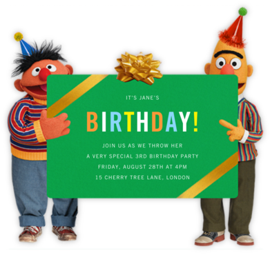 Bert and Ernie - Sesame Street - Online Kids' Birthday Invitations