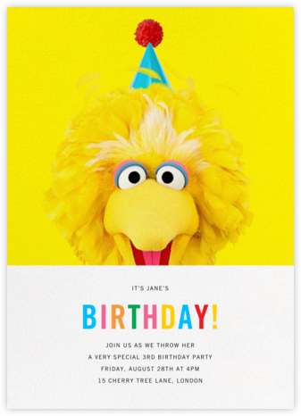 Big Bird - Sesame Street - Online Kids' Birthday Invitations