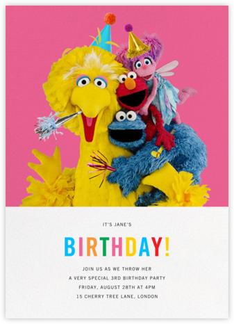 Big Bird and Company - Sesame Street - Online Kids' Birthday Invitations