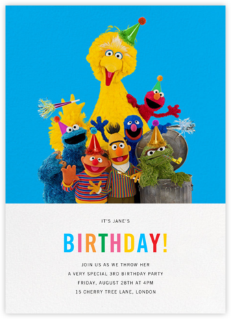 Big Birds of a Feather - Sesame Street - Birthday invitations
