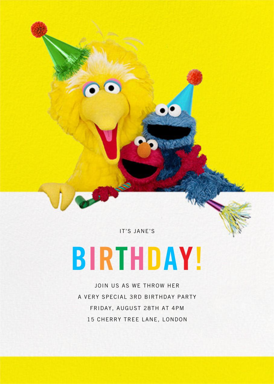 Big Yellow Trio - Sesame Street - Sesame Street Invitations