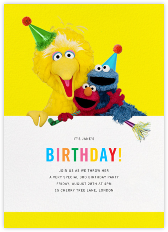 Big Yellow Trio - Sesame Street - Kids' birthday invitations