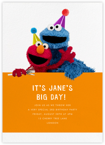Elmo and Cookie Monster - Sesame Street - Online Kids' Birthday Invitations