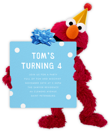 Elmo's Got A Present - Sesame Street - Birthday invitations