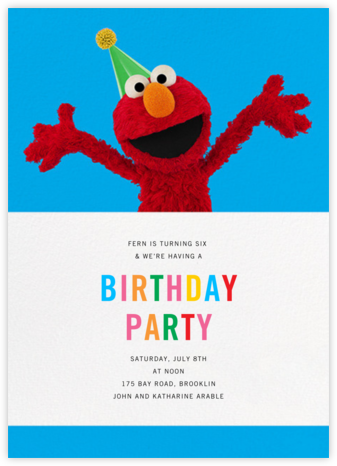 Elmo's Tickled - Sesame Street - Kids' birthday invitations