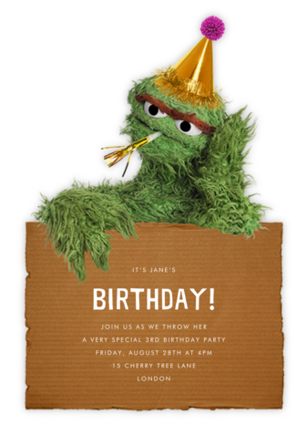 Grouchy Oscar - Sesame Street - Online Kids' Birthday Invitations
