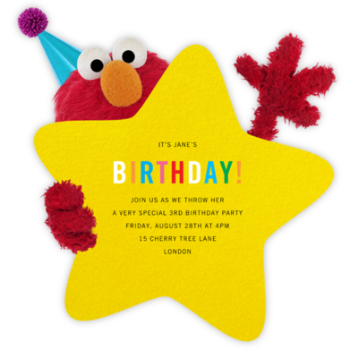 Hey, Elmo - Sesame Street - Online Kids' Birthday Invitations